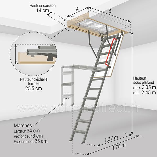 dimensions escalier escamotable LMK 305