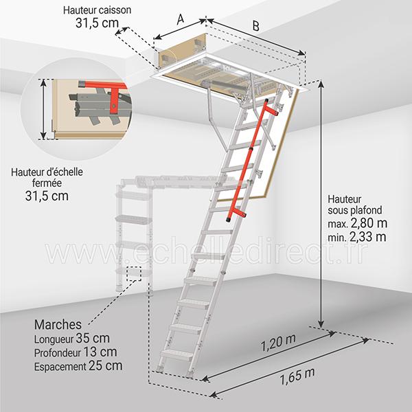 dimensions escalier escamotable LML 280