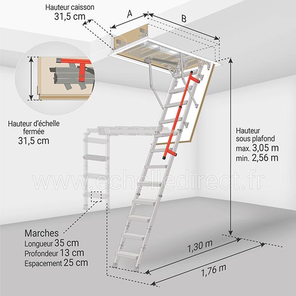 dimensions escalier escamotable LML 305