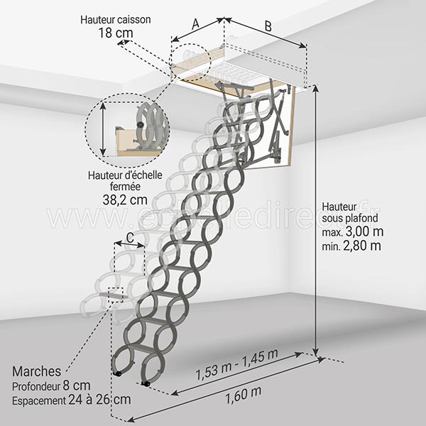 dimensions escalier escamotable LST 280