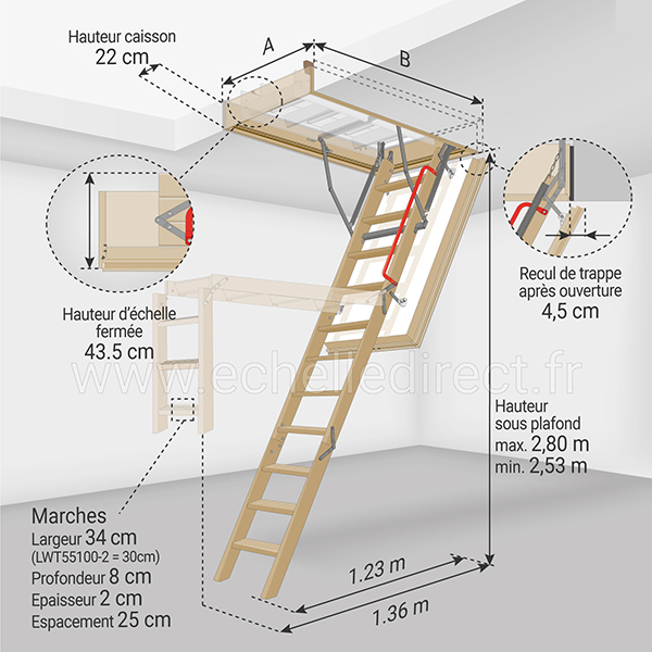 dimensions escalier escamotable LWT 280 100