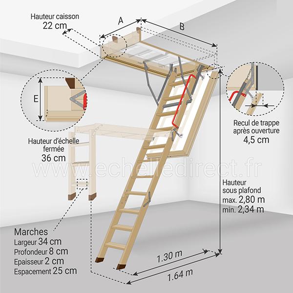 dimensions escalier escamotable LWT 280