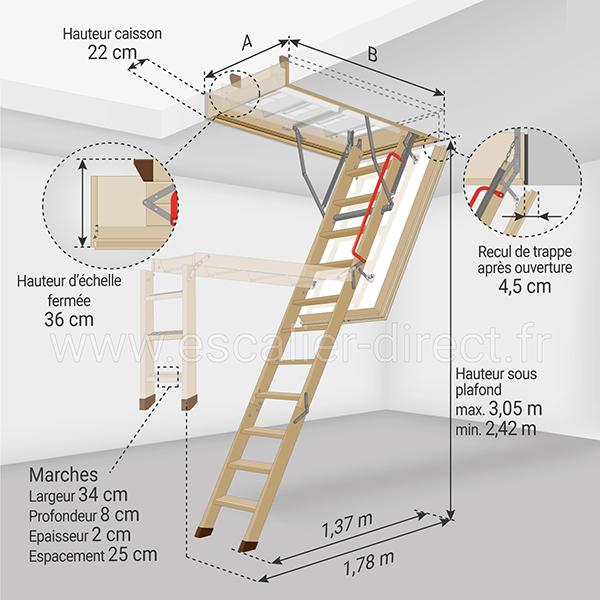 dimensions escalier escamotable LWT 305