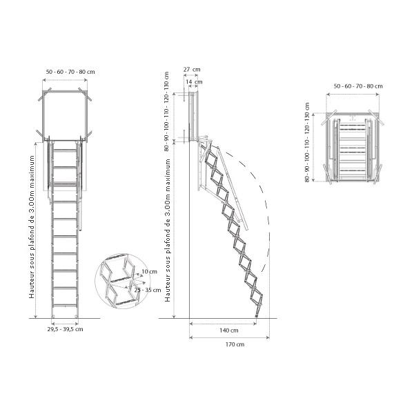 schema de l'escalier escamotable mural
