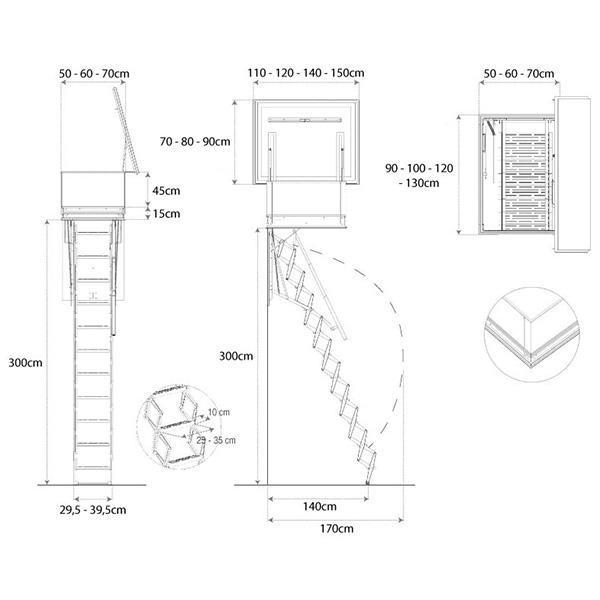 Dimensions de l'escalier escamotable de terrasse