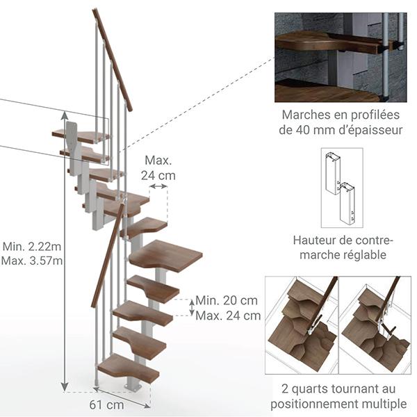 dimensions escalier gain de place U