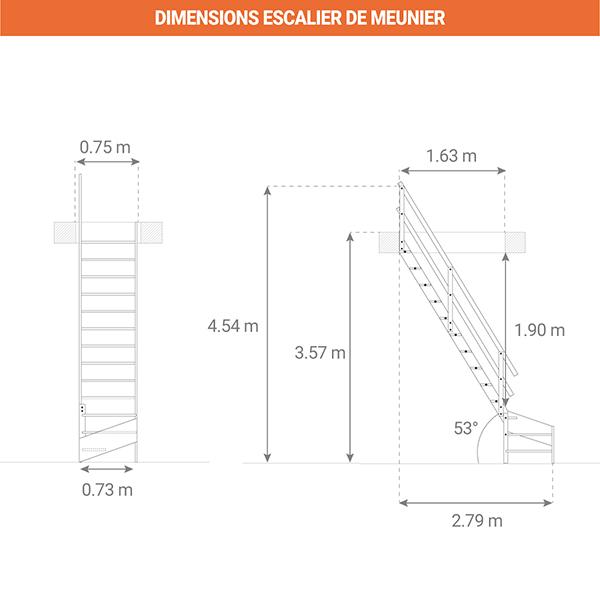 dimensions escalier meunier MSS MSW L