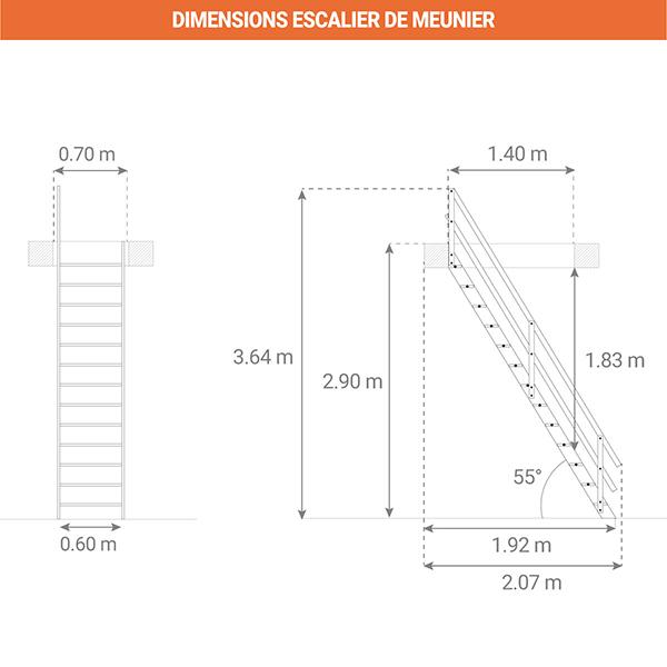 dimensions escalier meunier MSU