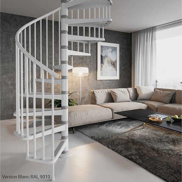 escalier colimacon gain place blanc