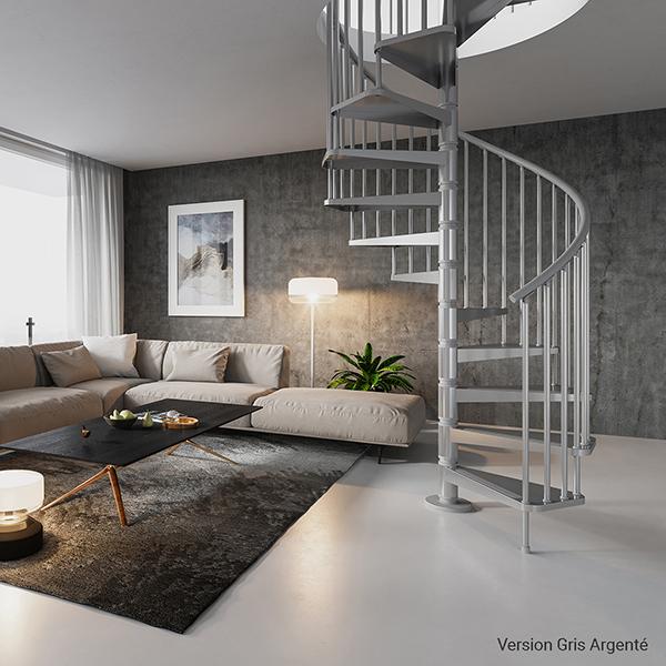 escalier colimacon gain place gris