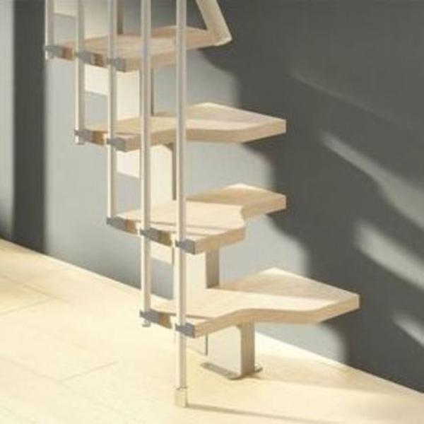 escalier droit avec rampe pour espaces reduits