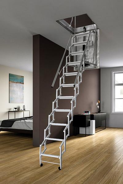 escalier escamotable electrique gris