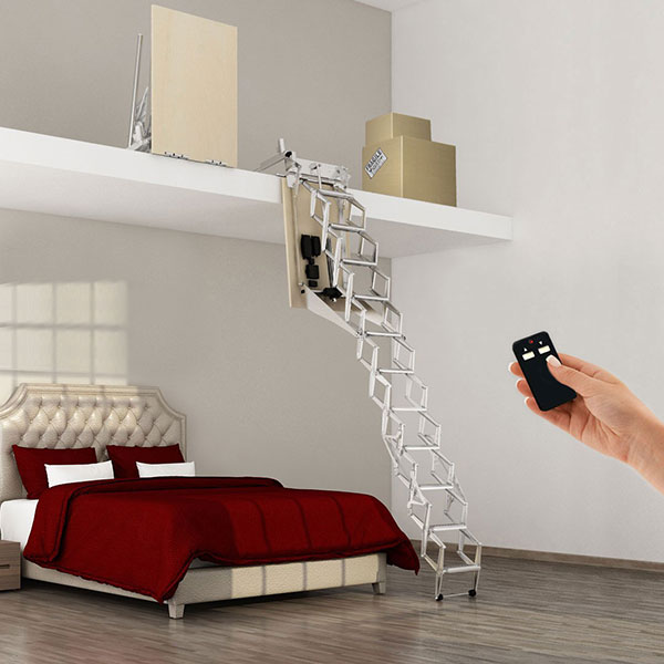 escalier escamotable lectrique pour mezzanine de de hauteur. Black Bedroom Furniture Sets. Home Design Ideas