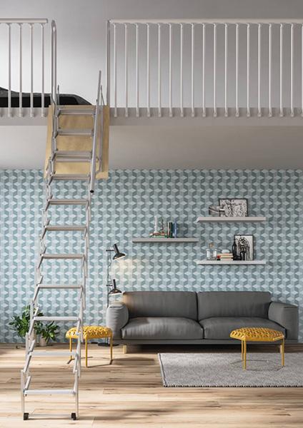 Top Escalier escamotable pour mezzanine rabattable pour gagner en  JV02