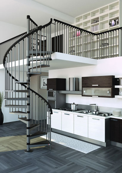escalier gain de place en m tal. Black Bedroom Furniture Sets. Home Design Ideas