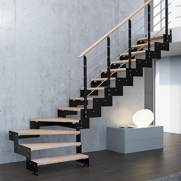 Escalier quart tournant configuration quart avec marche for Escalier gain de place quart tournant