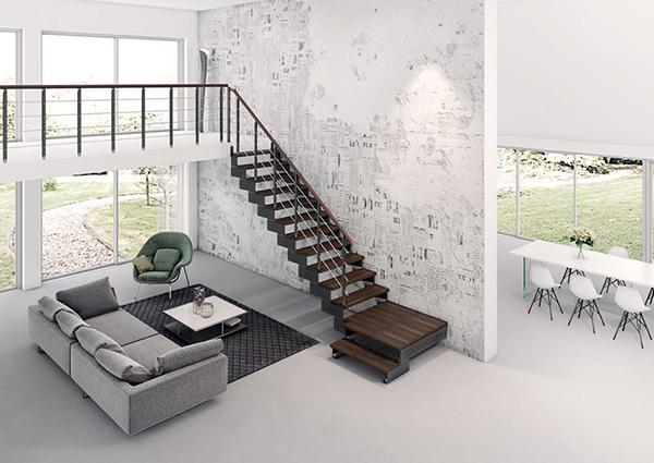 Escalier Quart Tournant Composity Noyer