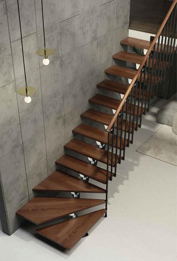 escalier quart tournant tube knock