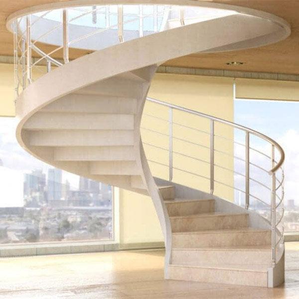 Escalier Sur Mesure Helicoidal Tournant En Beton En Verre