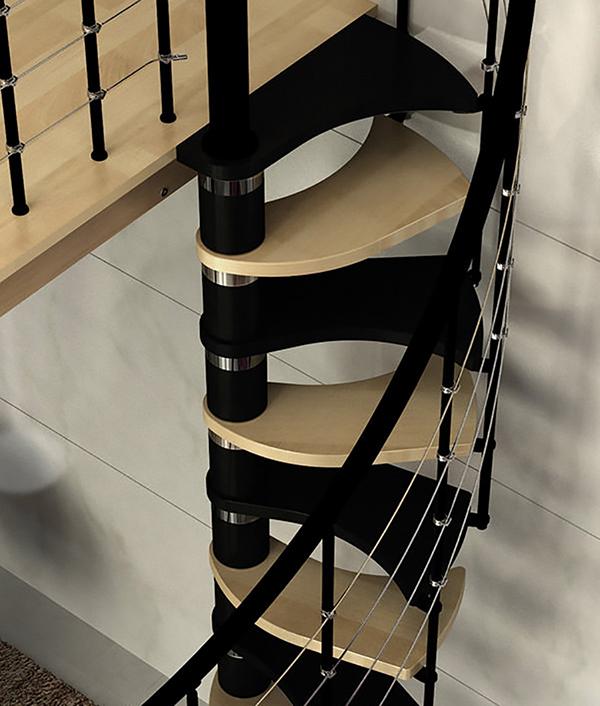 escalier tournant bicolore trio