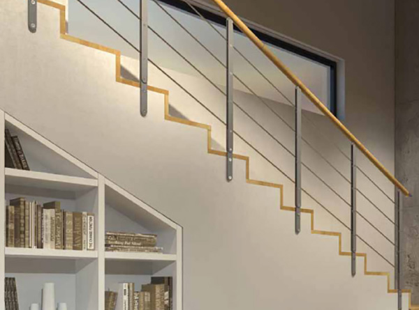 rampe escalier minimal fixation mur