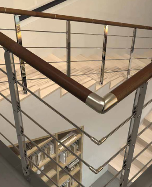 rampe escalier minimal fixation plancher