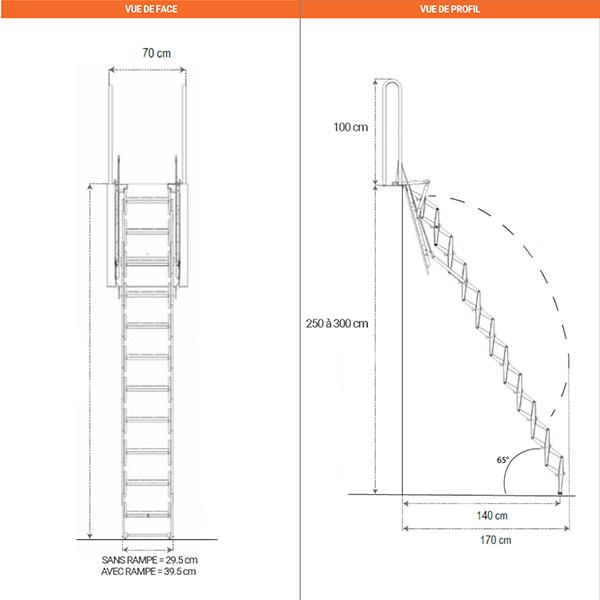schema dimensions misure PLACO A accordeon
