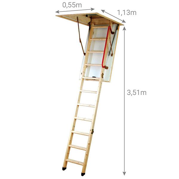schema escalier escamotable 3m50