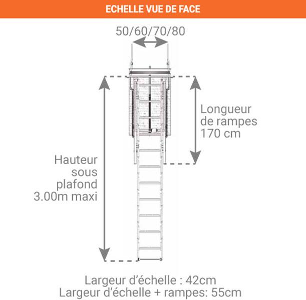 schema escalier escamotable electrique ELEC50 face