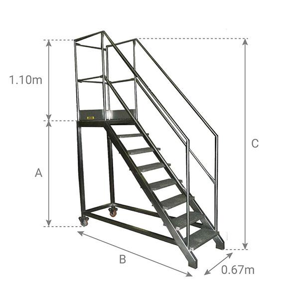 schema escalier inox garde corp 67cm