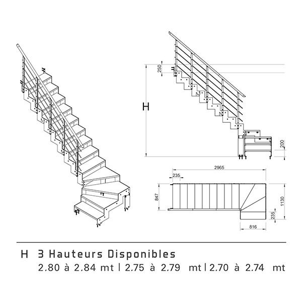Schéma escalier quart tournant