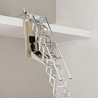 escalier escamotable electrique mezzanine deux rampes