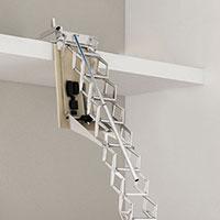 escalier escamotable electrique mezzanine rampe gauche