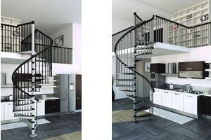 Escalier gain de place pour un petit espace gr ce un un encombrement minimal for Escalier colimacon gain de place