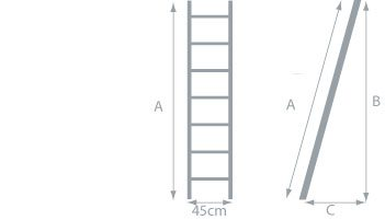 escalier droit aluminium largeur de 45cm. Black Bedroom Furniture Sets. Home Design Ideas
