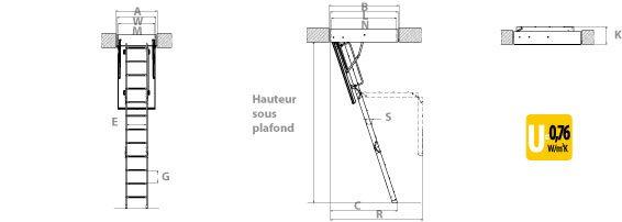 schema de l'escalier escamotable isolé