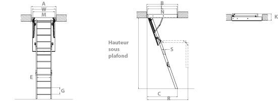schema de l'escalier escamotable acier