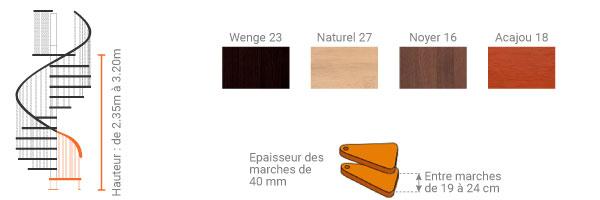 schema escalier gain de place bois TRIO180