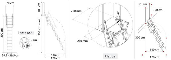 Schéma de l'escalier de meunier
