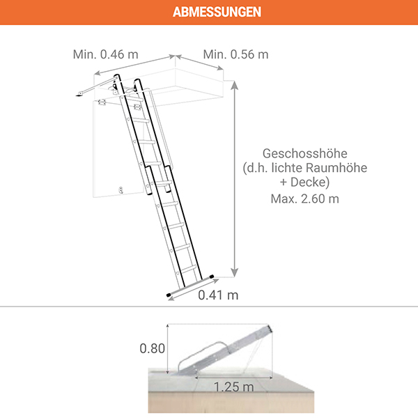 abmessungen dachbodenleiter 2 teilig 9343