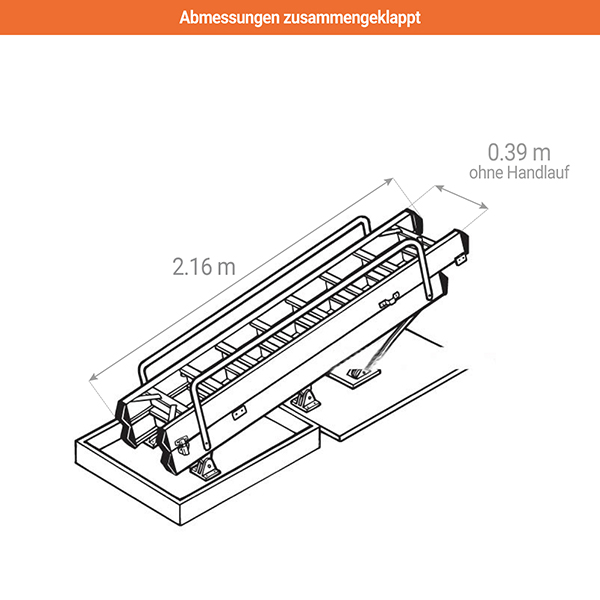abmessungen zusammengeklappt dachbodenleiter 306340