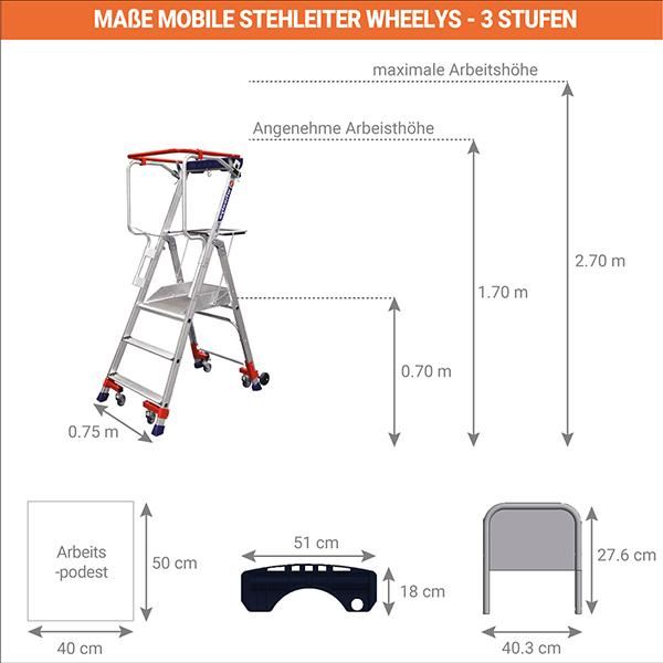 masse stehleiter wheelys 501903