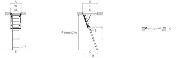 Schema der Holz Dachbodenleiter