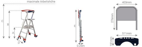 Schema fahrbare Plattformeleiter Wheelys