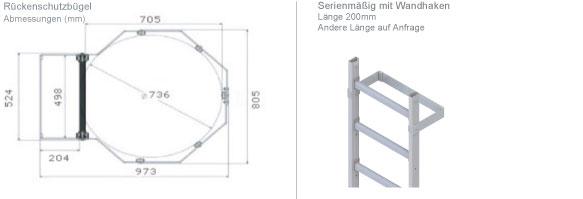 Schema der Steigleiter mit ausfahrbaren Geländerstange