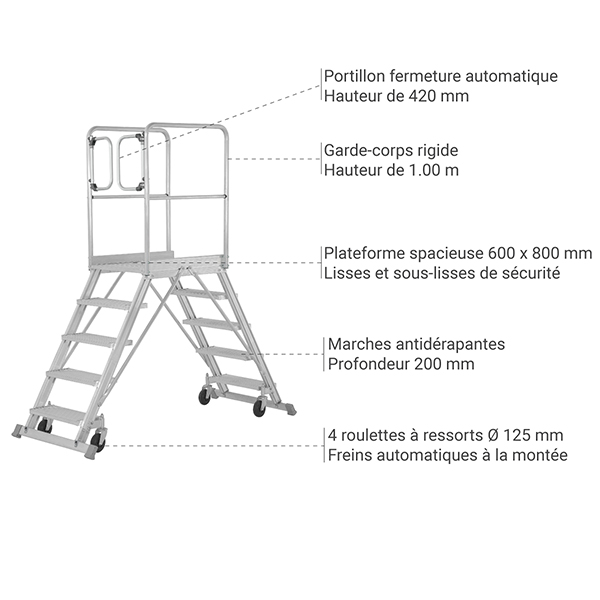 details plateforme roulante 6889 P