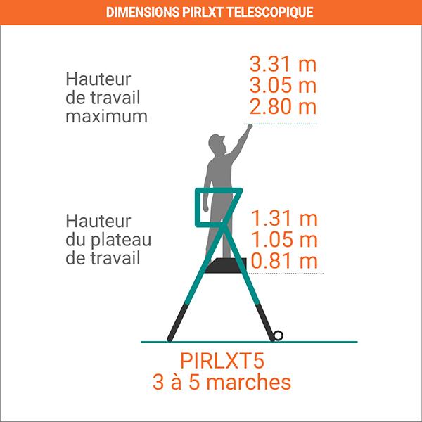 dimensions echelle telescopique PIRL
