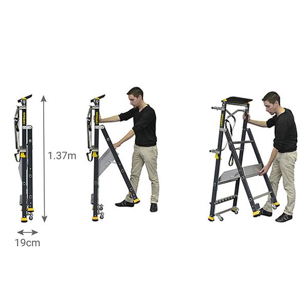dimensions escabeau STEPPER 414901 plie