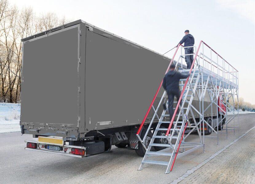 Plateforme pour camion id ale pour l 39 entretien le for Piscine mobile sur camion