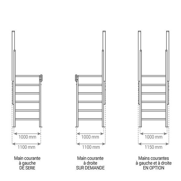 schema main courante escalier 22 1000mm